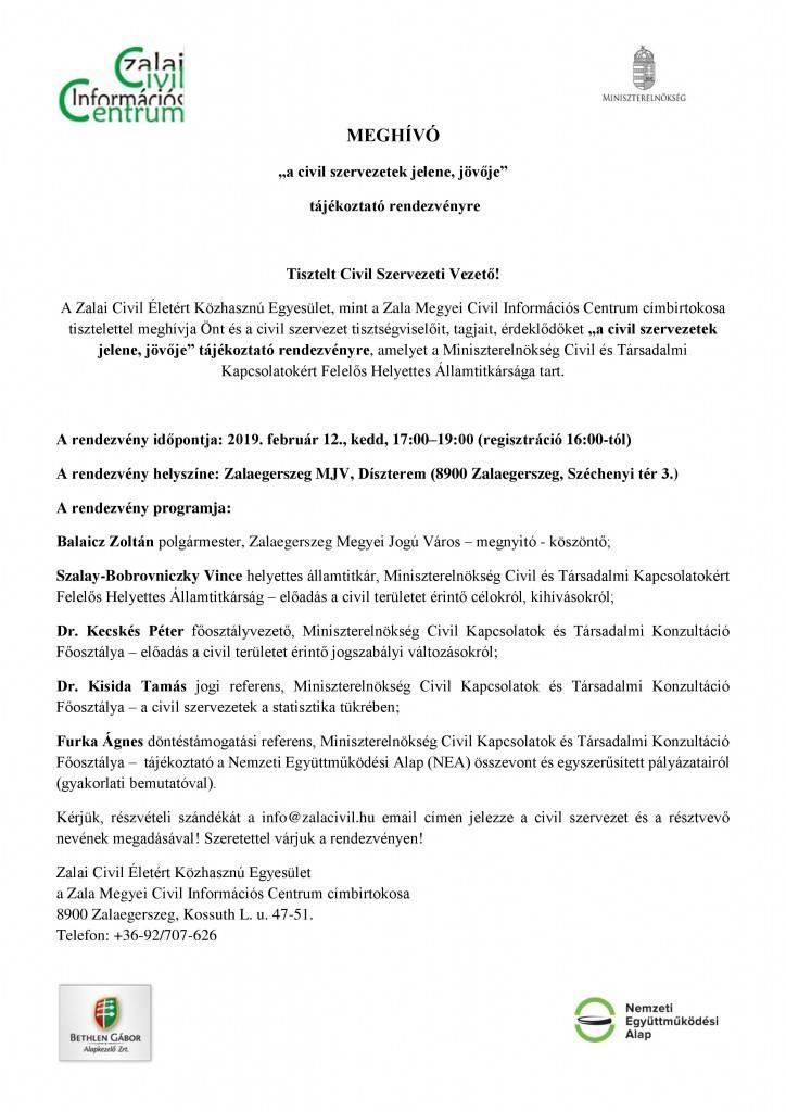 Civil szervezetek jelene jövője_Meghívó - ZM CIC
