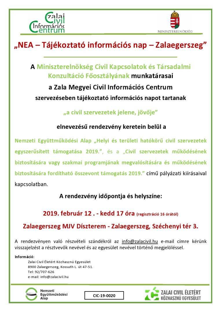 NEA tájékoztató - 2019.02.12 - Zalaegerszeg
