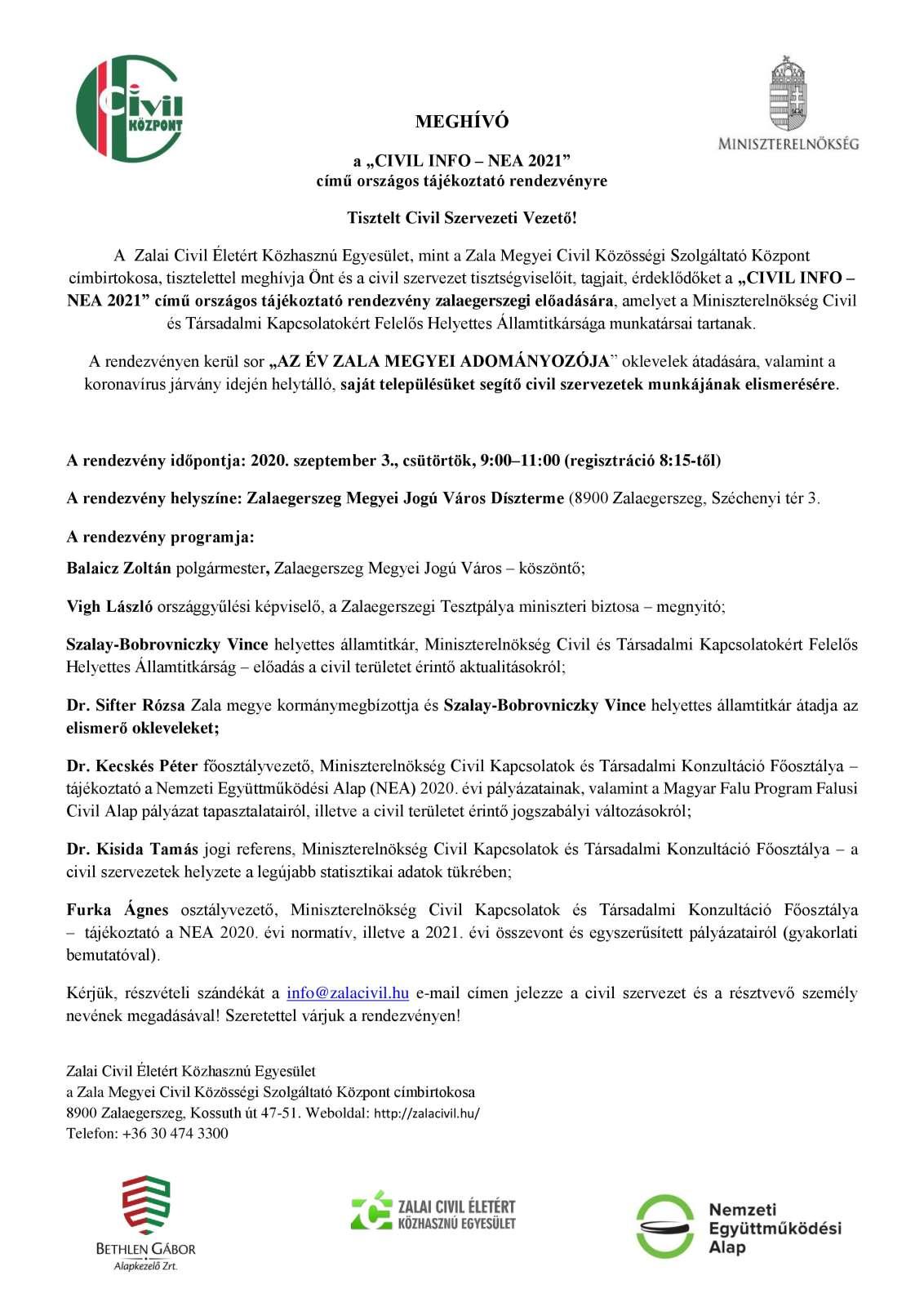 Ad - CIVIL INFO - NEA 2021 országos tájékoztató rendezvény_meghívó ME-page-0